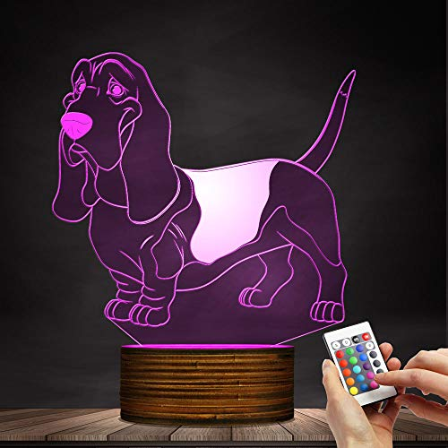 The Geeky Days Basset Hound 3D Optical Illusion Night Light USB Dog Animal Glowing LED Home Decor Pug Desk Lamp