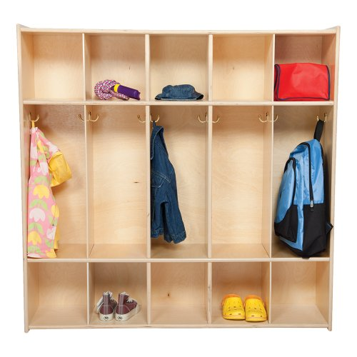 Sprogs Wooden Five-Section Locker Unit Without Seat - Unassembled, SPG-4155-54W by Sprogs