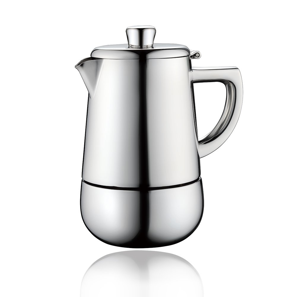 Minos Moka Pot Espresso Maker - 6 cups - 10 fl oz - Stainless Steel And Heatproof Handle - Suitable for Gas, Electric And Ceramic Stovetops by Minos