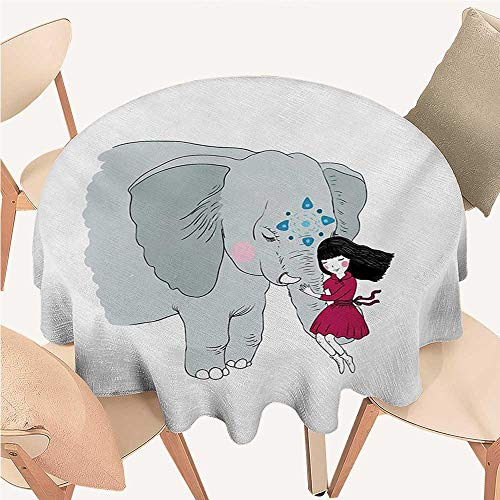 W Machine Sky Elephant Picnic Cloth Little Girl Sitting on The Trunk of an Elephant with Simple Mandala Motif in Blue Round Tablecloth D 36
