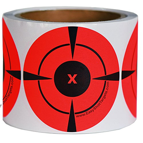 EasyShot Targets Neon Orange Self-Adhesive 3-Inch Bullseye Target Stickers for Shooting, 250 Targets (125/Roll)