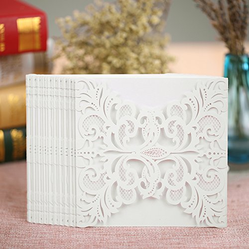 Anself 20Pcs Lace Wedding Invitation Card for Bridal Shower