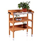 LAZYMOON Potting Bench Outdoor Fir Wood Garden Planting Station w/ Hook and Storage Shelf