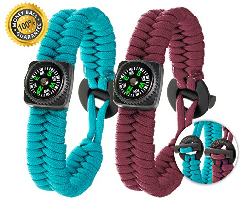 A2S Dare2 Survival Bracelet - Pack of 2 – Stylish Survival Gear Kit with Compass, Fire Starter, Emergency Knife - for Camping Hiking Outdoors Emergency Preparedness (Burgundy / Veraman, Medium 8.5