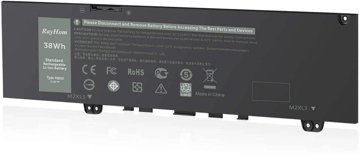 RayHom Replacement F62G0 Laptop Battery - for Dell Inspiron 13 5370 7000 7370 7373 7380 7386 P83G P83G001 P83G002 P87G P87G001 Vostro 13 5370 D1525S D1505G D2505G R1605S Series F62GO RPJC3 39DY5