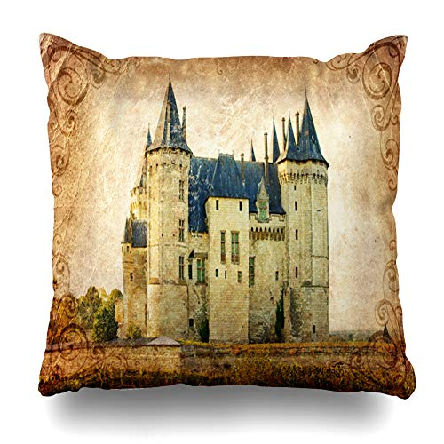 (Ahawoso Throw Pillow Cover Retro Orange Ancient Castles France Vintage Saumur Valley Aged Clip Autumn Country Design Decorative Cushion Case Square 20