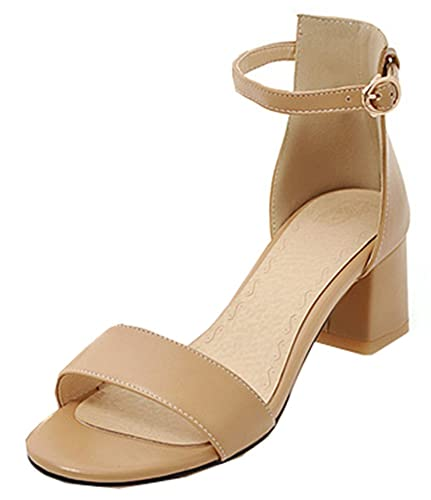 e8d01a909 SHOWHOW Women s Graceful Open Toe Chunky Mid Heel Sandals with Strap Apricot  10 B(M