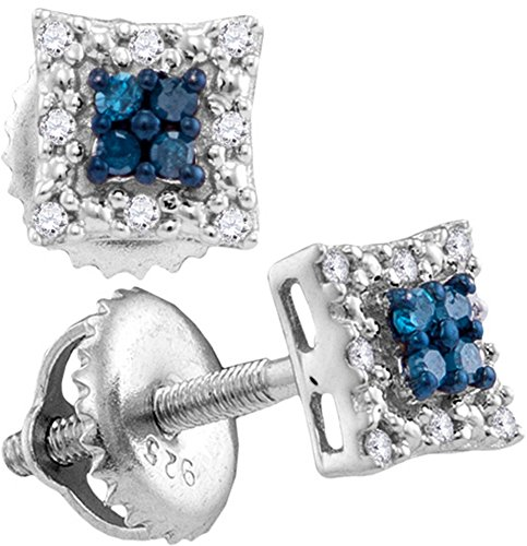 Sterling Silver Womens Round Blue Colored Diamond Square Cluster Screwback Earrings 1/10 Cttw (I2-I3 clarity; Blue color)