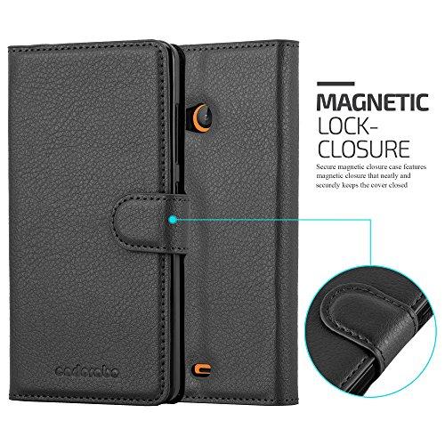 Cadorabo - Funda Nokia Lumia 520 Book Style de Cuero Sintético en Diseño Libro - Etui Case Cover Carcasa Caja Protección (con función de suporte y tarjetero) en AZUL-PASTEL NEGRO-FANTASMA