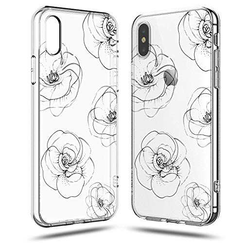 ers Case,Girls Trendy Simple Line-Drawing Elegant Classical Black White Roses Floral Daisy Blooms Less is More Summer Unique Clear Soft Case Compatible for iPhone XR ()