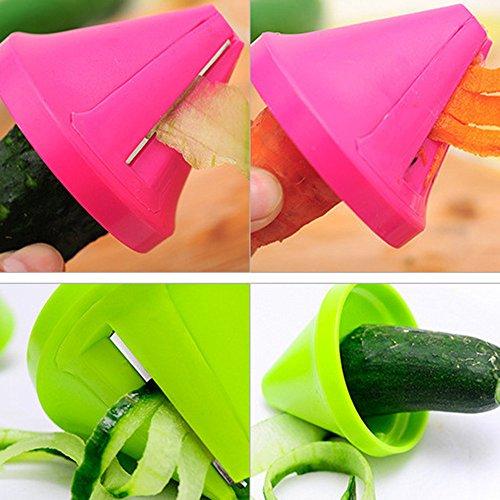Kitchen Funnel Model Spiral Slicer Vegetable Shred Carrot Radish Cutter (Hot pink) by OVERMAL_Tools (Image #4)