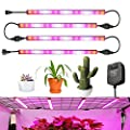 Grow Lights GLIME 24W 60LED Plant Light Strip 4in1 Flexible Soft Plant Grow Light Lamp with Adapter for Garden Greenhouse Pot Culture Hydroponics Indoor Plants 4 Lights Strips Kit Easy to Install