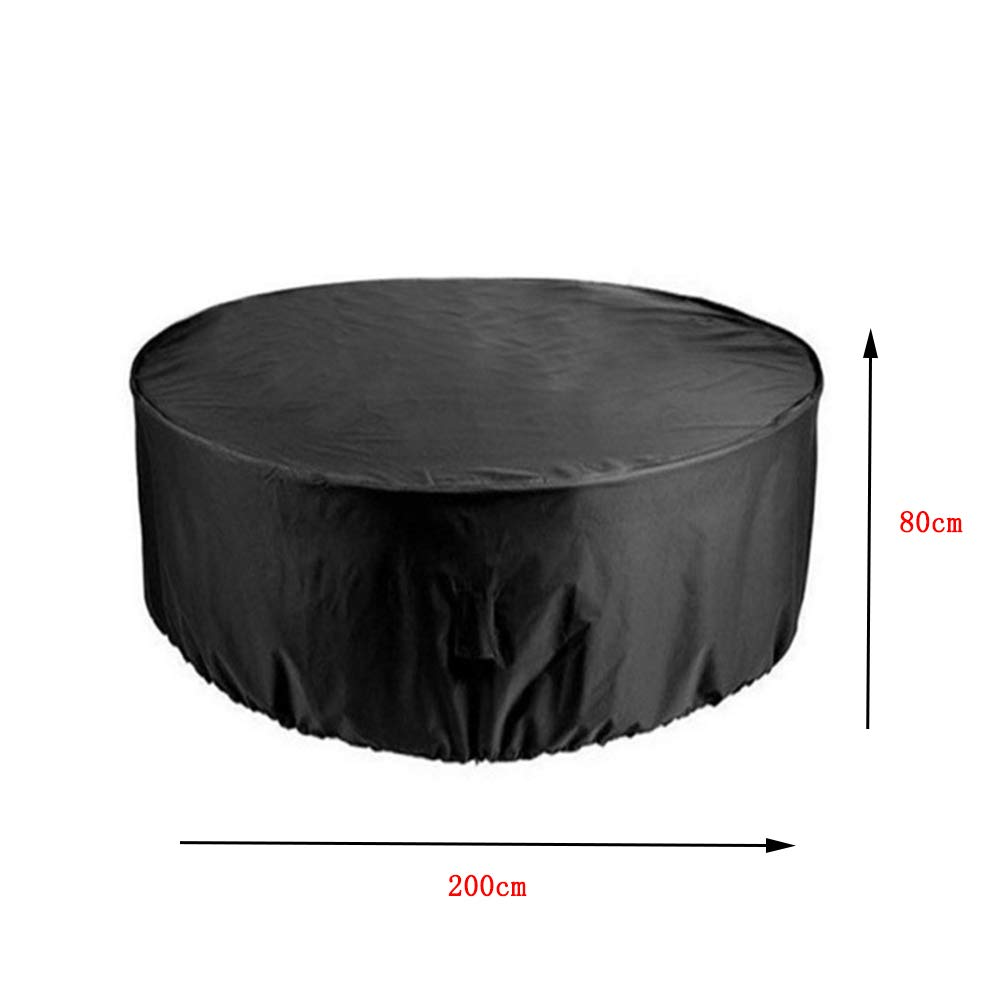 JYW-Covers Couverture De Meubles, De Plein Air Prime Rond Housse De Protection, Convient Table/Canapé Imperméable/Crème Solaire,Black,80 * 200Cm Convient Table/Canapé Imperméable/Crème Solaire