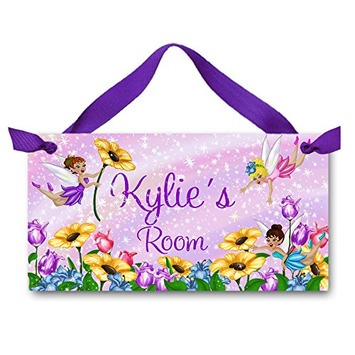 ing Fairy Girls Bedroom Personalized Name Door Sign Wall Art DS0030 ()