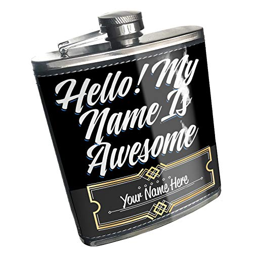 (Neonblond Flask Classic design Hello! My Name Is Awesome Custom Name Stainless Steel)