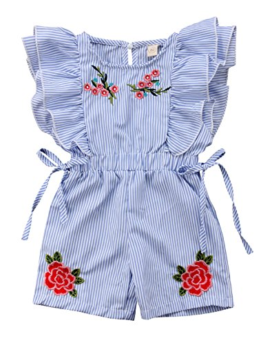 Urkutoba Baby Girl Floral Romper Jumpsuit Stripe Flutter Ruffle Sleeve Bodysuit One Piece Bowknot Summer Short Outfit (Blue, 2-3 Years)