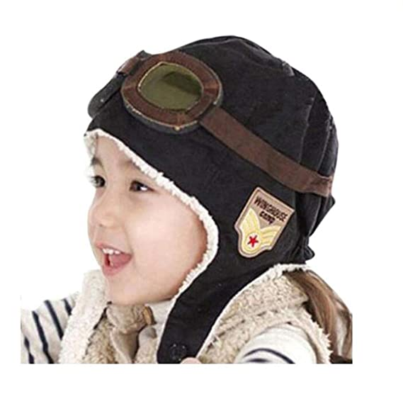 1ad28830612 Amazon.com  Genius Baby Lovely Cute Fashion Warm Baby Kid Toddler Infant  Child Children Boy Girl Winter Earflap Pilot Cap Aviator Hat Beanie Flight  Helmet ...