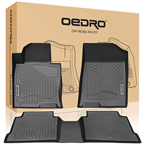 oEdRo Floor Mats Compatible for 2016-2019 KIA Optima/Hyundai Sonata, Black TPE All Weather Guard Front and Rear Liners ()