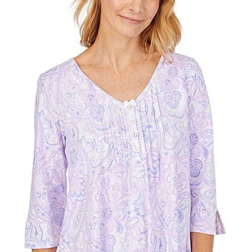 Carole Hochman Women's Short Gown, Purple Paisley, M