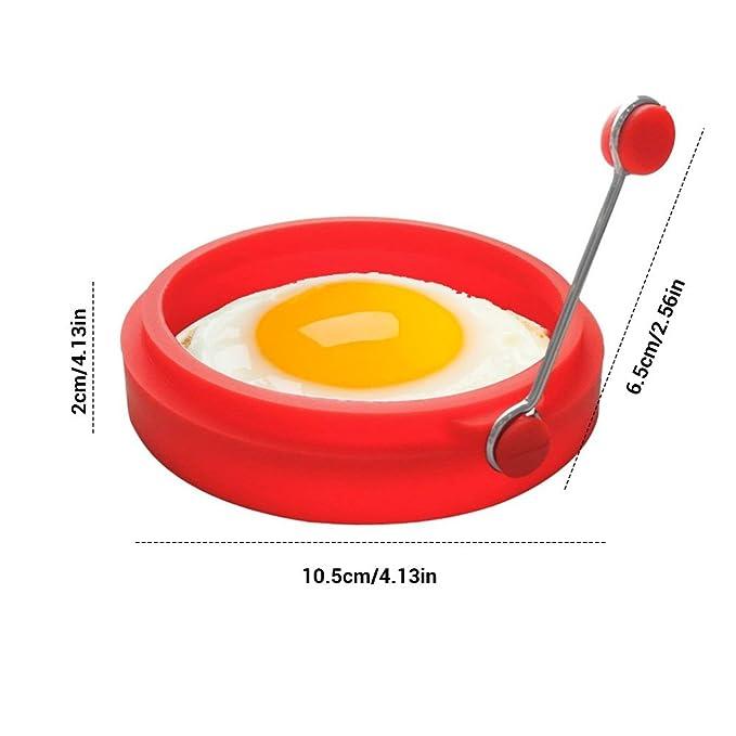 Surenhap 4 Piezas Moldes para freír Huevos Anillo Molde Cocina Utensilios de Cocina para el Huevo de Silicona Round Breakfast: Amazon.es: Hogar