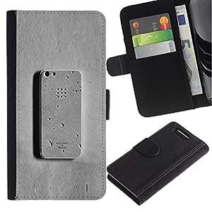 JackGot ( Teléfono gris Meta hormigón divertido ) Sony Xperia Z1 Compact / Z1 Mini (Not Z1) D5503 la tarjeta de Crédito Slots PU Funda de cuero Monedero caso cubierta de piel