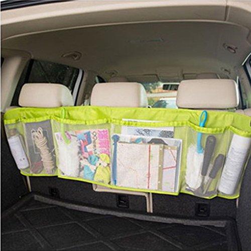 Holiberty Multi-function SUV Car Auto Interior Backseat Trunk Cargo Tidy Net Removable Hanging Organizer Storage Large Capacity Foldable Mesh Pockets Vehicle Back Seat Organizers Bag - Green ()