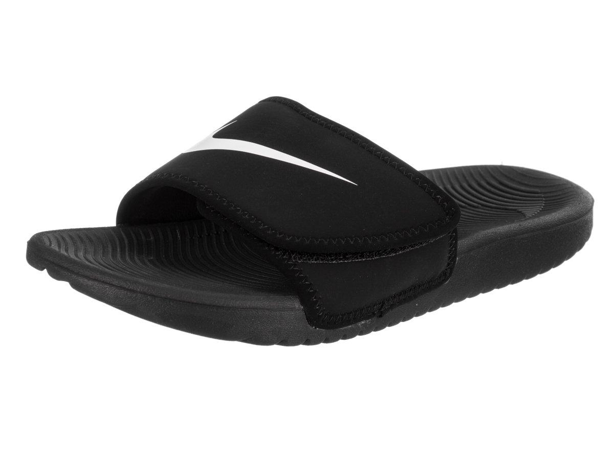 NIKE Boy's Kawa Adjust Slide Sandal (GS/PS) Black/White Size 2 M US