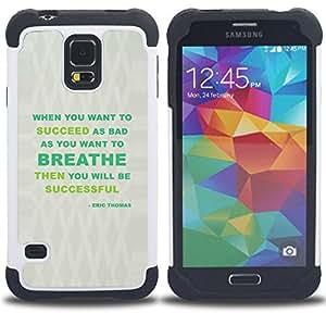 BullDog Case - FOR/Samsung Galaxy S5 I9600 G9009 G9008V / - / MESSAGE BREATHE GREY GREEN SUCCESS /- H??brido Heavy Duty caja del tel??fono protector din??mico - silicona suave