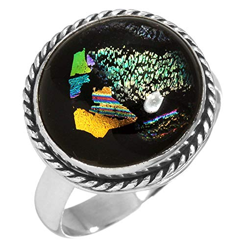 Dichroic Glass Ring - Dichroic Glass Gemstone Ring Solid 925 Sterling Silver Modern Jewelry Size 10
