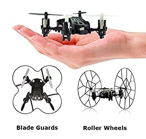 Top Race 4-Channel Micro Mini-Drone Rolling Quadcopter with Wheels, Fly, Roll, and Flip, TR-MQ3 from Top Race
