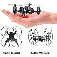 Top Race Micro-Drone Quadcopter de 4 canales con ruedas, Fly, Roll y Flip. TR-MQ3