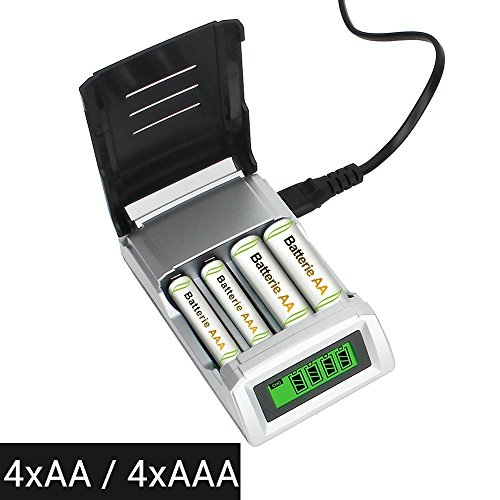 Universal Battery Charger For AA AAA Rechargeable Batteries with Overheat Protection Fast Charger & Discharger LCD display and Auto Switch Off (Battery Not Included)