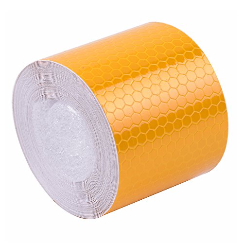Brightplus 5cm x 6m Reflective Safety Warning Conspicuity Tape Film Sticker For Cars, Trucks, Trailers, RV's, Campers, Boats, or Mailboxes (Yellow) - Blue Mailbox Reflector