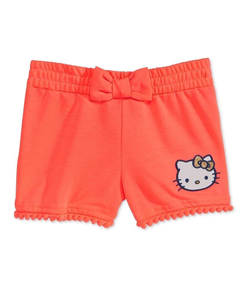 Evy of California Girls Hello Kitty Pom-Pom Casual Walking Shorts Orange 5 Little Kids 4-7