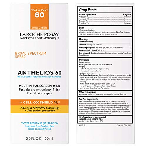 La Roche-Posay Anthelios Melt-In Sunscreen Milk Body & Face Sunscreen Lotion Broad Spectrum SPF 60, Oxybenzone…