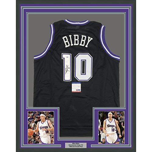 Framed Autographed/Signed Mike Bibby 33x42 Sacramento Black Basketball Jersey PSA/DNA COA