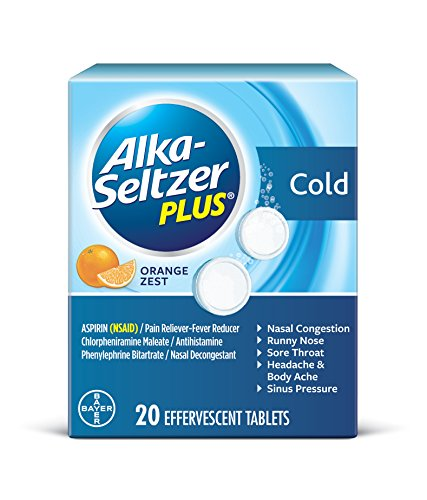 Alka-Seltzer Plus Cold Medicine, Orange Zest Effervescent Tablets With Pain Reliever/Fever Reducer, Orange Zest, 20 - Seltzer Alka Cold Plus