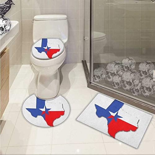 - Texas Star Bath Rug Set Outline of The Texas Map American Southwest Austin Houston City Non-Slip Soft Absorbent Bath Rug Vermilion White Violet Blue