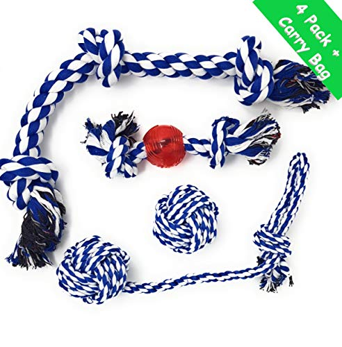 4LegsFriend Tug of War Toy Set for Aggressive Chewers - 4 Pack Ropes for Medium and Large Dogs and Puppies Who Love to Chew, Play Rough, Strong, Washable Dental Floss Cotton Tough Chewing Toys + Bag