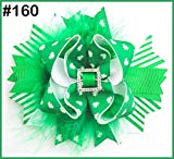 2017 newest 80pcs St Patricks Day Bow Angel St. Patrick's Day Boutique Style Hair Bow shamrock ribbon bows