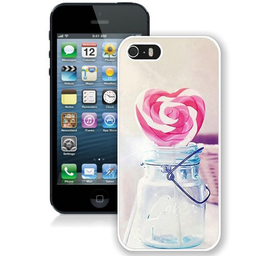 Coque,Fashion Coque iphone 5S Heart Candy Cane Glass Jar Valentines Gift blanc Screen Cover Case Cover Fashion and Hot Sale Design