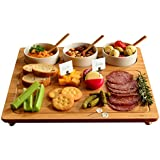 """Picnic at Ascot Bamboo Cheese Board/ Charcuterie Platter with 3 Ceramic Bowls & Cheese Markers - 13"""" x 13"""" - Designed & Quality Checked in the USA"""
