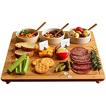 Picnic at Ascot Bamboo Cheese Board/ Charcuterie Platter with 3 Ceramic Bowls and Markers- Designed & Quality Assured in California