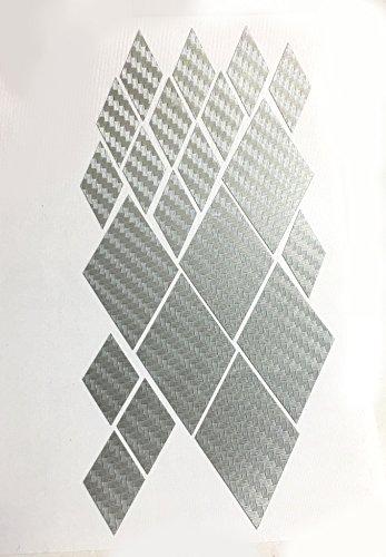 Silver Carbon Fiber Mitsubishi ALL Models 2002 - 2015 Overlay Vinyl Decal Logo Sticker For Existing Emblems COMPLETE (Complete Decal Set)