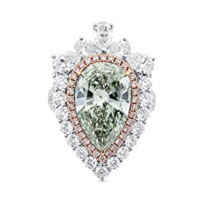 8.69Cts Green Diamond Engagement Ring Set in 18K Size 6