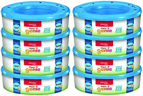Playtex Diaper Genie Refill Bags, Ideal For Diaper Genie Diaper Pails, Registry Gift Set, 270 Diaper Couches, Pack Of 8