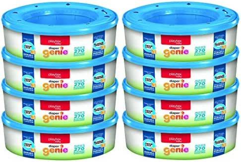 Playtex Diaper Genie Refill Bags, Ideal for Diaper Genie Diaper Pails, Registry Gift Set, 8 Pack, 2160 Count