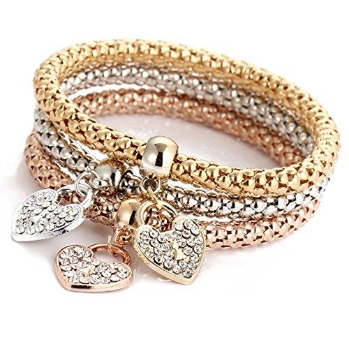Gold Three Heart Bracelet (Toyofmine Women 3 Pcs Bracelet Gold Silver and Rose Gold Plated Heart Shape Rhinestone Charm Bangle)