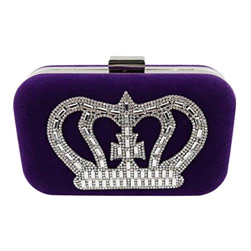 Paquete De La Cena De La Perla Del Diamante Del Bolso De Tarde De Las Señoras Paquete Lleno Del Banquete Del Bolso Del Diamante De Gama Alta Purple