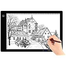 Tikteck HL0230-04FB A4 Size Ultra-Thin Portable Tracer 7500K White LED Artcraft Tracing Pad Light Box w 3 Level Brightness for 5D DIY Diamond Painting Artists Drawing Sketching Animation,